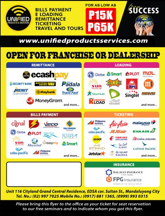 Mandaluyong City Metro Manila - Unified Products Services Main Office Official Website Negosyo best Business Franchising Home Based Online Philippines Travel Agency Mandaluyong City
